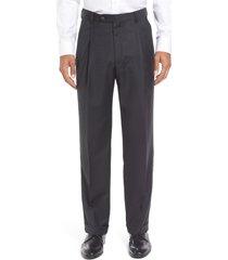 men's berle super 130s gabardine pleated trousers, size 32 x unhemmed - grey