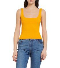 women's sandro alya ribbed sleeveless sweater, size 0 - yellow