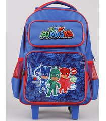 mochila escolar infantil com rodinhas pj masks azul