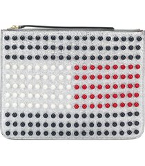 hilfiger collection tommy icon pearl flag pouch - metallic