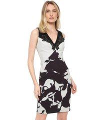vestido lança perfume curto pedrarias branco/preto