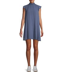 pleated mockneck shift dress