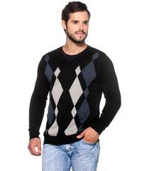 suéter officina do tricô losango preto - kanui