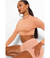woman print long sleeved crop top, peach