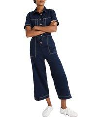 women's madewell contrast stitch retro jumpsuit, size 4 - blue