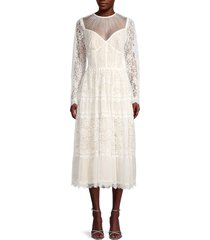 tadashi shoji women's laced long-sleeve dress - white - size 00