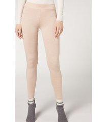 calzedonia cashmere blend leggings woman nude size m