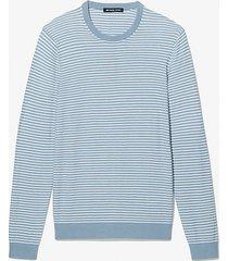 mk pullover in misto cotone testurizzato a righe - chambray (blu) - michael kors