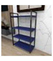 aparador industrial aço cor preto 60x30x98cm (c)x(l)x(a) cor mdf azul modelo ind48azapr