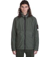 stone island casual jacket in green polyamide