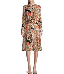 madi paisley long-sleeve shirt dress