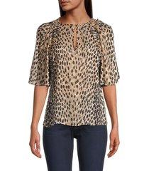 rebecca taylor women's cheetah-printed silk-blend blouse - golden - size s