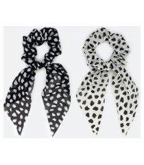 kit 2 scrunchies alongados estampa poá | accessories | branco | u
