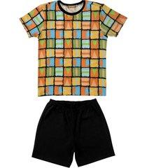 conjunto pijama de geomã©trico douvelin laranja - laranja/preto - menino - algodã£o - dafiti