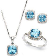 sterling silver jewelry set, blue topaz (5-7/8 ct. t.w.) and diamond accent necklace, earrings and ring set
