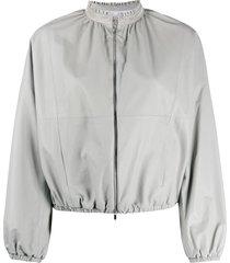 fabiana filippi rhinestone collar bomber jacket - grey