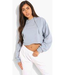 woman korte hoodie met tekst, light blue