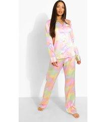 tall satijnen tie dye pyjama set met broek, lilac