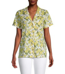 onia women's floral vacation shirt - white multi - size xs