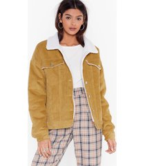 womens on borg with it corduroy jacket - mustard