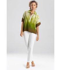 natori painted tie-dye top, women's, green, size s natori