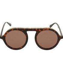 64mm faux tortoiseshell round sunglasses
