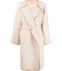chloé belted mid-length coat - neutrals
