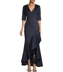 asymmetrical drapey ruffle gown