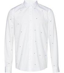 jacquard logo denim l/s shirt overhemd casual wit junk de luxe