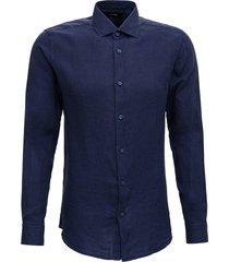 z zegna blue linen shirt