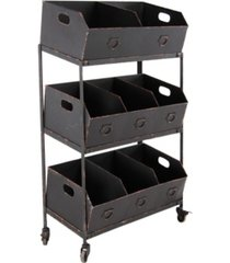 "traditional 42"" x 30"" white iron three-tiered storage tray cart"