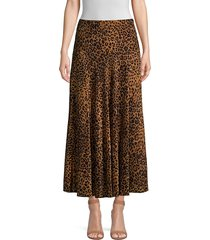 lafayette 148 new york women's alba leopard-print silk skirt - teak multicolor - size 6
