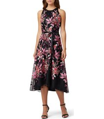 women's tahari floral embroidered high/low midi dress