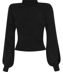 amen fur applique ribbed sweater