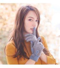 donna inverno caldo lana velluto in maglia orecchie di coniglio dito pieno guanti indoor outdoor vogue cute guanti