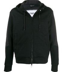emporio armani performance mesh hoodie - black