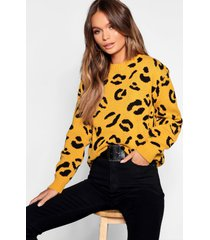 gebreide luipaardprint trui, mosterd