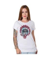 camiseta   stoned indian wolf branca
