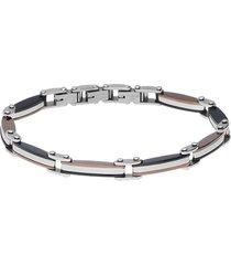 bracciale in acciaio bicolore e zircone per uomo