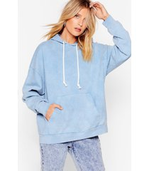 womens acid wash us work it relaxed hoodie - pale blue