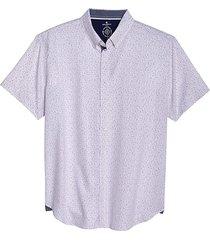 con. struct men's slim fit short sleeve shirt white & pink dot - size: xl