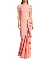 off-the-shoulder draped gown