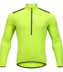 los hombres pro cycling jersey de manga larga de bicicleta mtb bike camiseta traje vestido de verde fluorescente