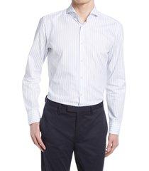 men's boss jemerson slim fit stripe dress shirt, size 16 - blue
