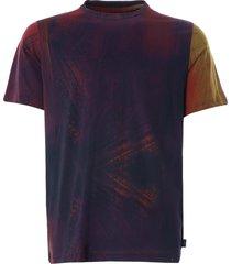 paul smith 'brush stroke' print cotton t-shirt   red   238u-f21264 25