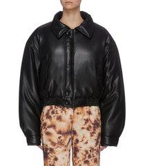puffer crop bomber jacket