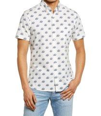 men's big & tall nordstrom tech-smart trim fit frog print short sleeve button-up shirt, size xxx-large - white