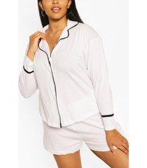 plus jersey t-shirt-pyjama met lange mouwen, wit