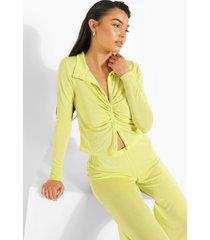 strakke blouse met textuur en wide leg broek, olive