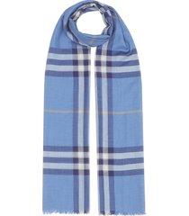 burberry lightweight check scarf - blue